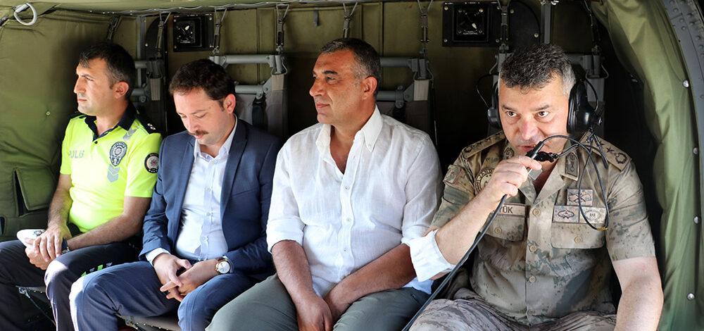 Jandarma ve polis ekipleri helikopterle trafik denetimi yaptı